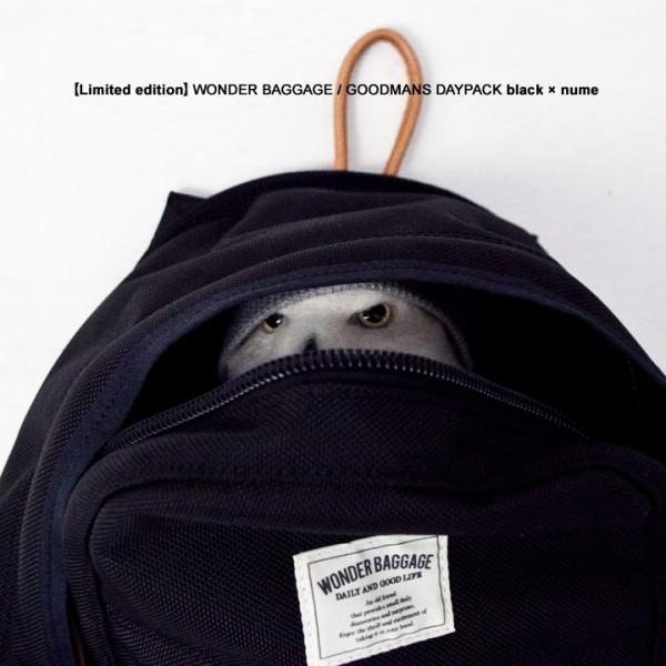 【Limited edition・数量限定】WONDER BAGGAGE ワンダーバゲージ GOODMANS DAYPACK グッドマンズ・デイパック black × nume ブラック×ヌメ革