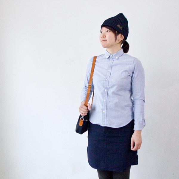 【Ladies'】Manual Alphabet マニュアル・アルファベット / Premium ox bd shirt : navy プレムアム オックスフォード ボタンダウン シャツ:ネイビー