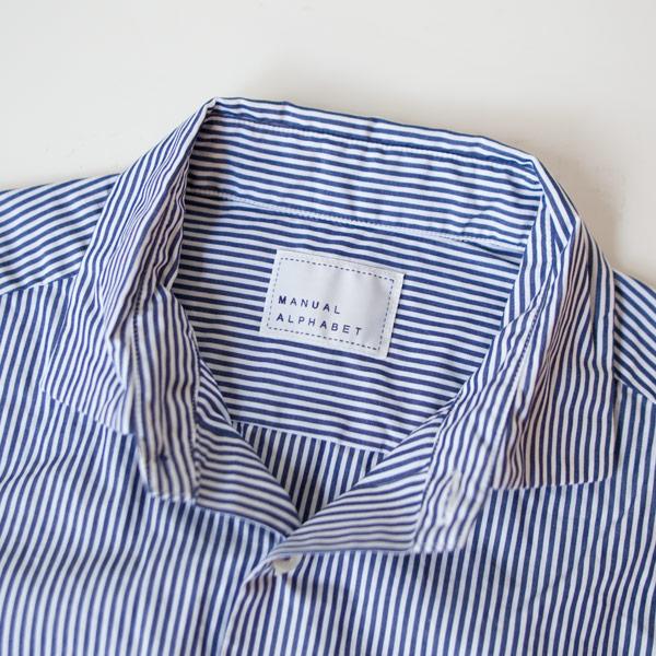 【Ladies'】Manual Alphabet マニュアル・アルファベット 100/2 broad basic shirt stripe ベーシックシャツ ストライプ