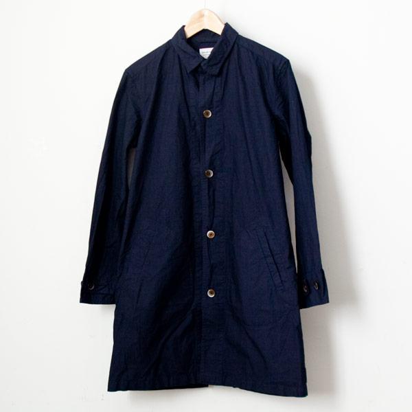 【Men's&Ladies'】Manual Alphabet マニュアル・アルファベット Typewriter shirt coat : navy タイプライターシャツコート ネイビー