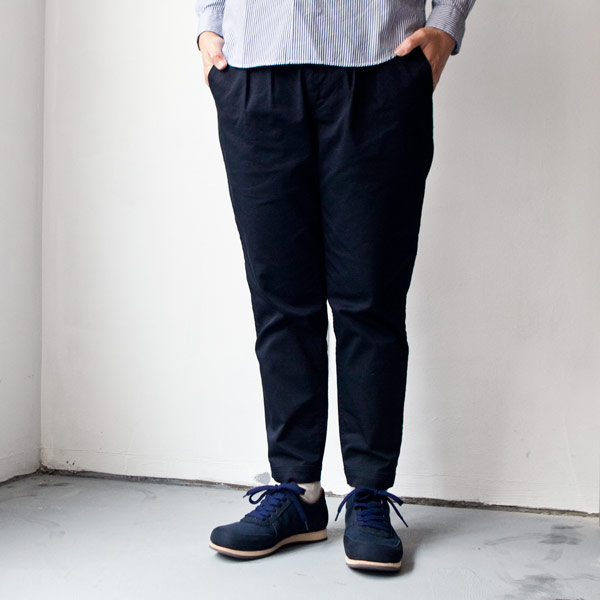 【Ladies'】ordinary fits オーディナリーフィッツ Tuck trouser strech chino : navy タックトラウザー ストレッチ チノ : ネイビー