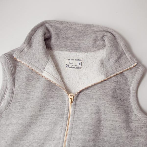 Kepani ケパニ / Pinnacle park : stand neck sweat vest : light gray スタンド ネック スウェットベスト : ライトグレー
