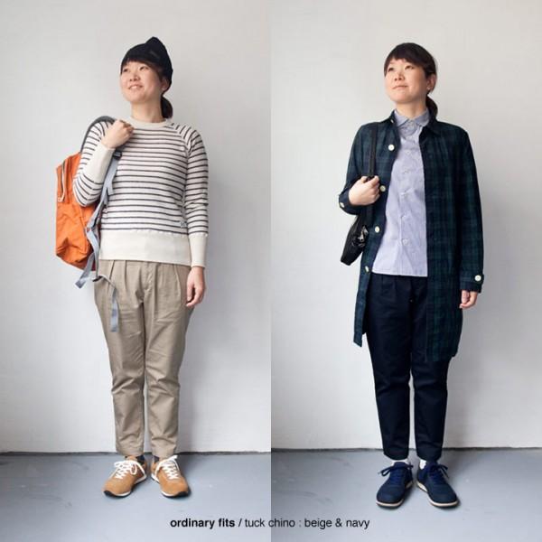 【Ladies'】ordinary fits オーディナリーフィッツ Tuck trouser strech chino タックトラウザー ストレッチ チノ