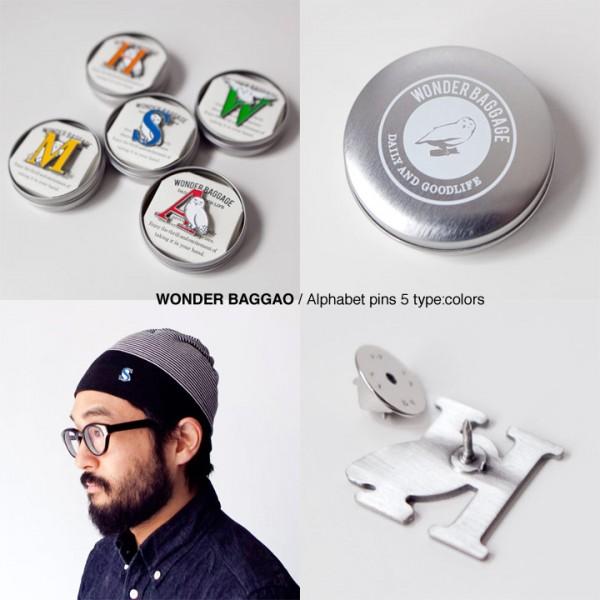 WONDER BAGGAGE ワンダーバゲージ  Wonder Baggao alphabet pins ワンダーバゲオ アルファベット ピンズ