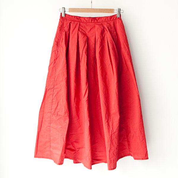 【Ladies'】Manual Alphabet マニュアル・アルファベット 60 lawn tuck skirt : red 60ローン タック スカート:レッド