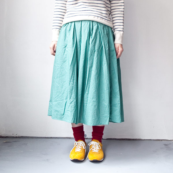 【Ladies'】Manual Alphabet マニュアル・アルファベット 60 lawn tuck skirt : green 60ローン タック スカート:グリーン