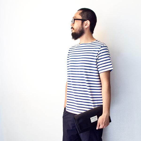 【Men's&Ladies'】ordinary fits オーディナリーフィッツ Basque border shirt : blue × oatmeal バスク ボーダー Tシャツ ブルー オートミール