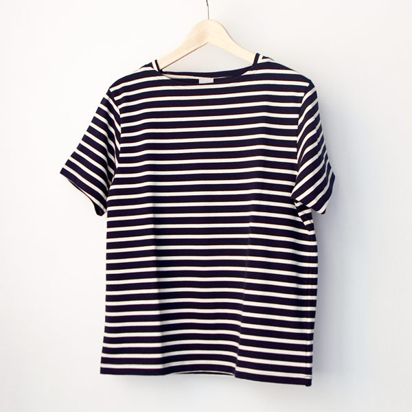 【Men's&Ladies'】ordinary fits オーディナリーフィッツ Basque border shirt : navy × oatmeal バスク ボーダー Tシャツ ネイビー オートミール