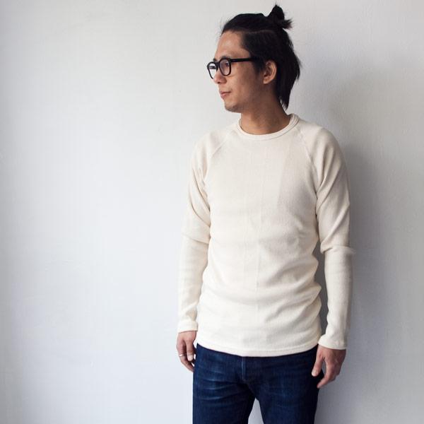 Manual Alphabet マニュアル・アルファベット Circular rib fabric crew neck long sleeve : kinari ハーフフライス クルーネック ロングスリーブ 生成り