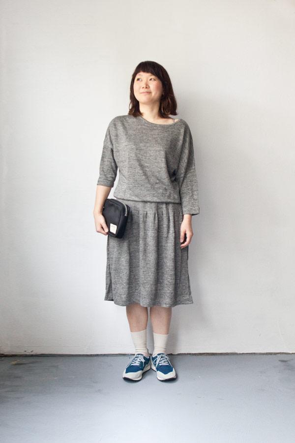 RYU リュー / Linen grandrelle darts dress : gray リネン 杢 ダーツ ドレス グレー