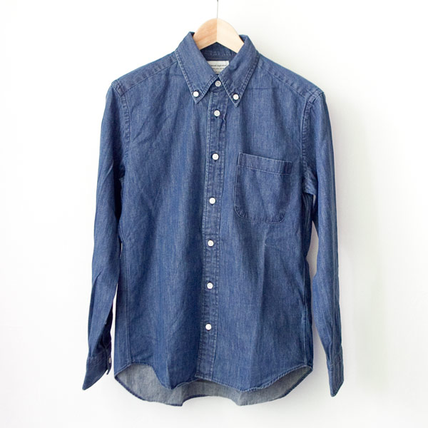 Manual Alphabet マニュアル アルファベット 6oz denim bd shirt : navy デニム ボタンダウン シャツ ネイビー