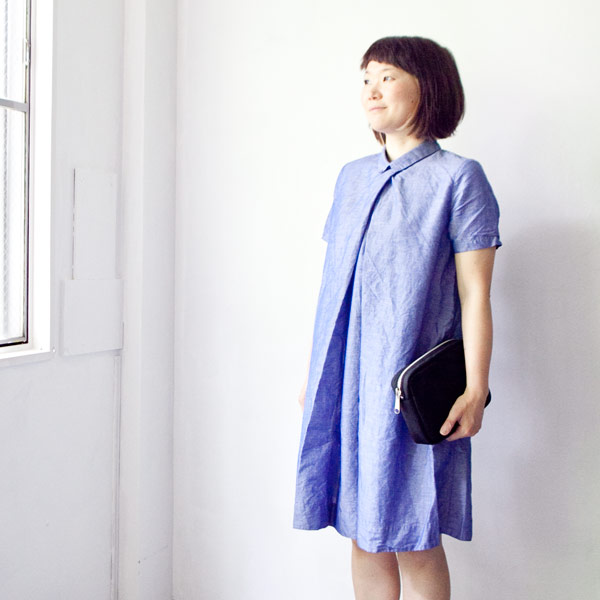 【Ladies'】ordinary fits オーディナリーフィッツ Front tuck onepiece : blue フロント タック ワンピース ブルー