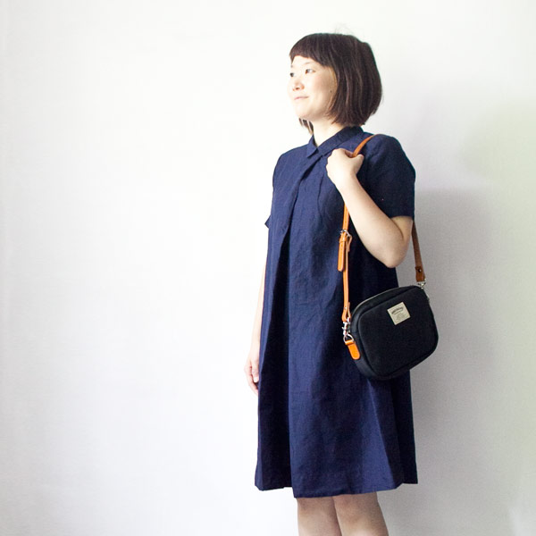 【Ladies'】ordinary fits オーディナリーフィッツ Front tuck onepiece : navy フロント タック ワンピース ネイビー