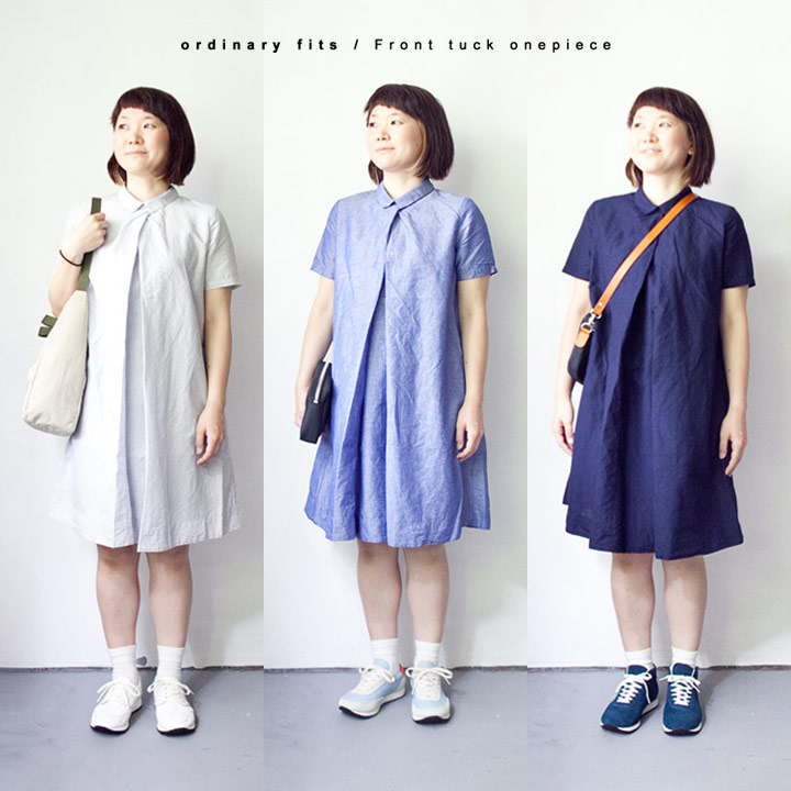 【Ladies'】ordinary fits オーディナリーフィッツ Front tuck onepiece フロント タック ワンピース