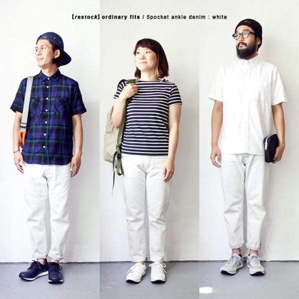 【Men's&Ladies'】ordinary fits オーディナリーフィッツ 5pocket ankle denim : white 5ポケット アンクレット デニム ホワイト