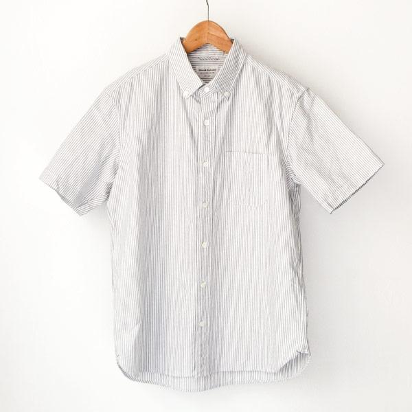 Manual Alphabet マニュアル・アルファベット / American ox ss bd shirt : white アメリカン オックスフォード 半袖 ボタンダウン シャツ ストライプ