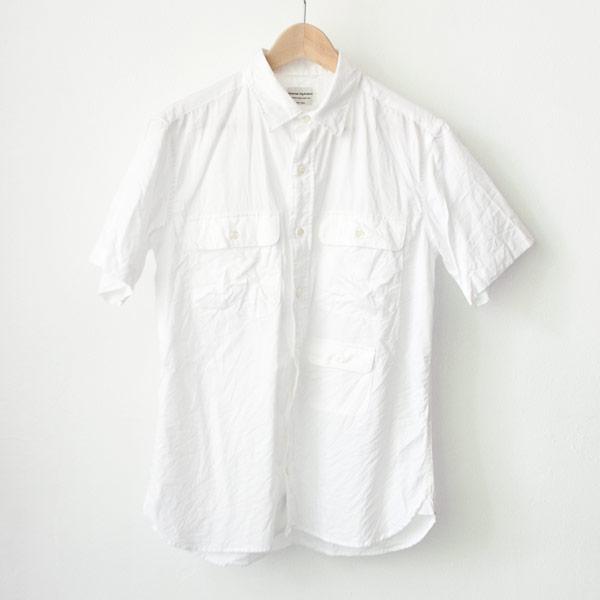 Manual Alphabet マニュアル・アルファベット / Giza 88 cl ox ss shirts : white ギザ88 コットンリネン オックスフォード 半袖 シャツ ホワイト