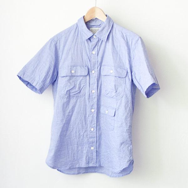 anual Alphabet マニュアル・アルファベット / Giza 88 cl ox ss shirts : blue ギザ88 コットンリネン オックスフォード 半袖 シャツ ブルー