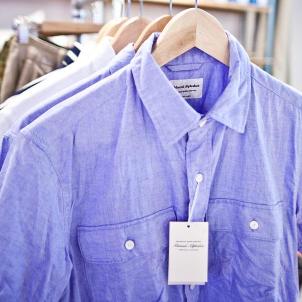 Manual Alphabet マニュアル・アルファベット / Giza 88 cl ox ss shirts : blue ギザ88 コットンリネン オックスフォード 半袖 シャツ ブルー