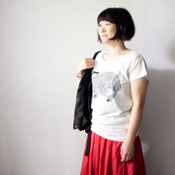 Apsu アプスー x struct ストラクト WOMBA-T ladies white ウォンバットTシャツ レディース ホワイト