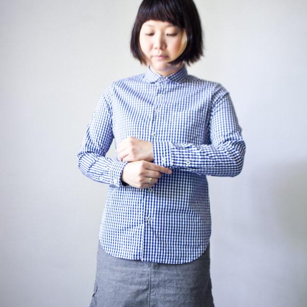【Ladies'】Manual Alphabet マニュアル アルファベット broad basic shirt Gingham ブロードベーシックシャツ ギンガム