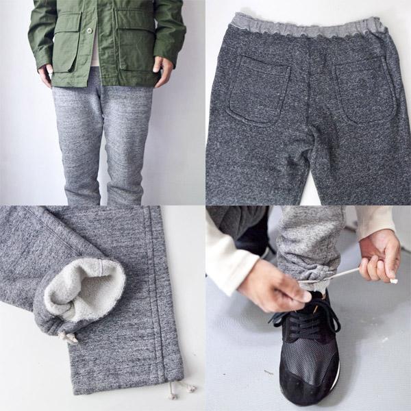 Kepani / Manresa sweat pants : gray and black ケパニ / マンレザ スウェットパンツ : グレイ / ブラック