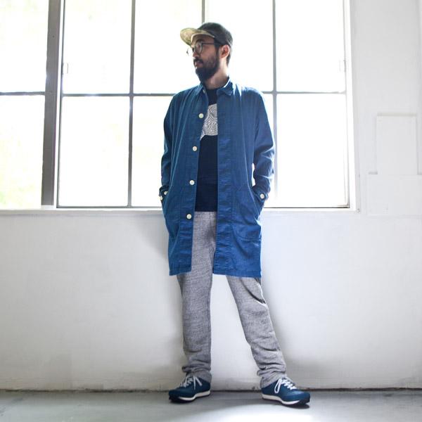 【Men's&Ladies'】Manual Alphabet マニュアル・アルファベット denim shirt coat : blue デニムシャツコート ブルー