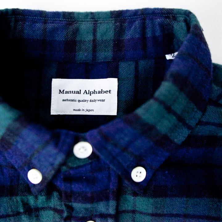 Manual Alphabet マニュアル・アルファベット / Stretching flannel check bd shirt ストレッチ フランネルチェック ボタンダウンシャツ