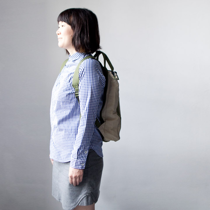 WONDER BAGGAGE ワンダーバゲージ Relax sack tote 2 : beige × forest リラックスザックトート2