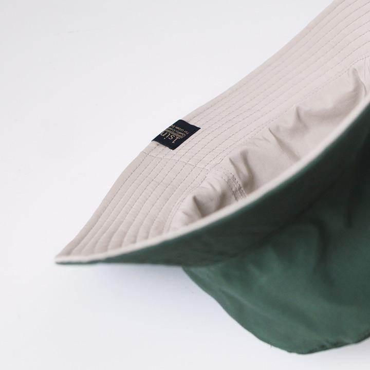 1sin イッシン REVERSIBLE BUCKET HAT : BEIGE, GREEN リバーシブル バケットハット : ベージュ, グリーン