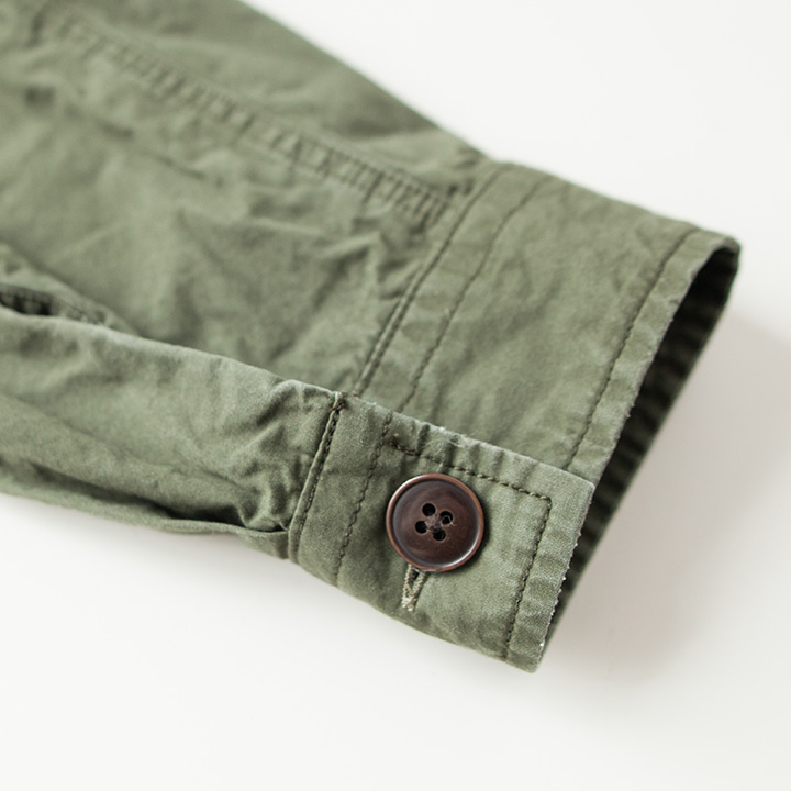 Manual Alphabet マニュアル アルファベット Sulfide dyed weather military shirt : olive 硫化染めウェザーミリタリーシャツ : オリーブ