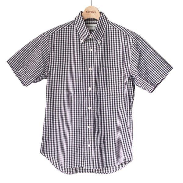 Manual Alphabet マニュアル アルファベット Gingham basic bd ss shirt : black ギンガム ベーシック BD 半袖 シャツ ブラック