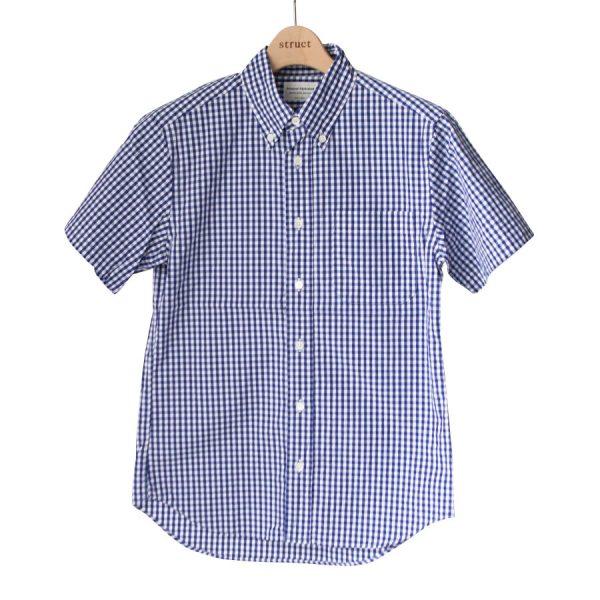 Manual Alphabet マニュアル アルファベット Gingham basic bd ss shirt : navy ギンガム ベーシック BD 半袖 シャツ ネイビー