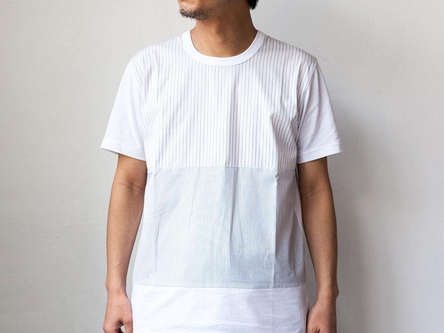 ALOYE アロイ 2017ss シャツ 切り返し グラフィック Tシャツ ストライプ柄の全体