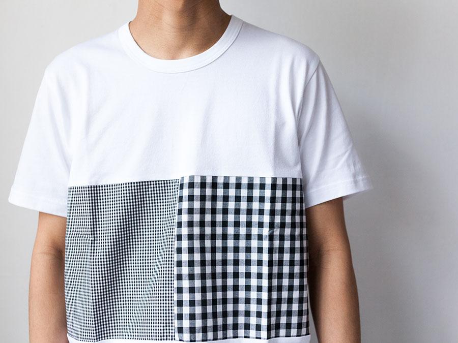 ALOYE アロイ 2017ss シャツ 切り返し グラフィック Tシャツ ギンガムの襟元