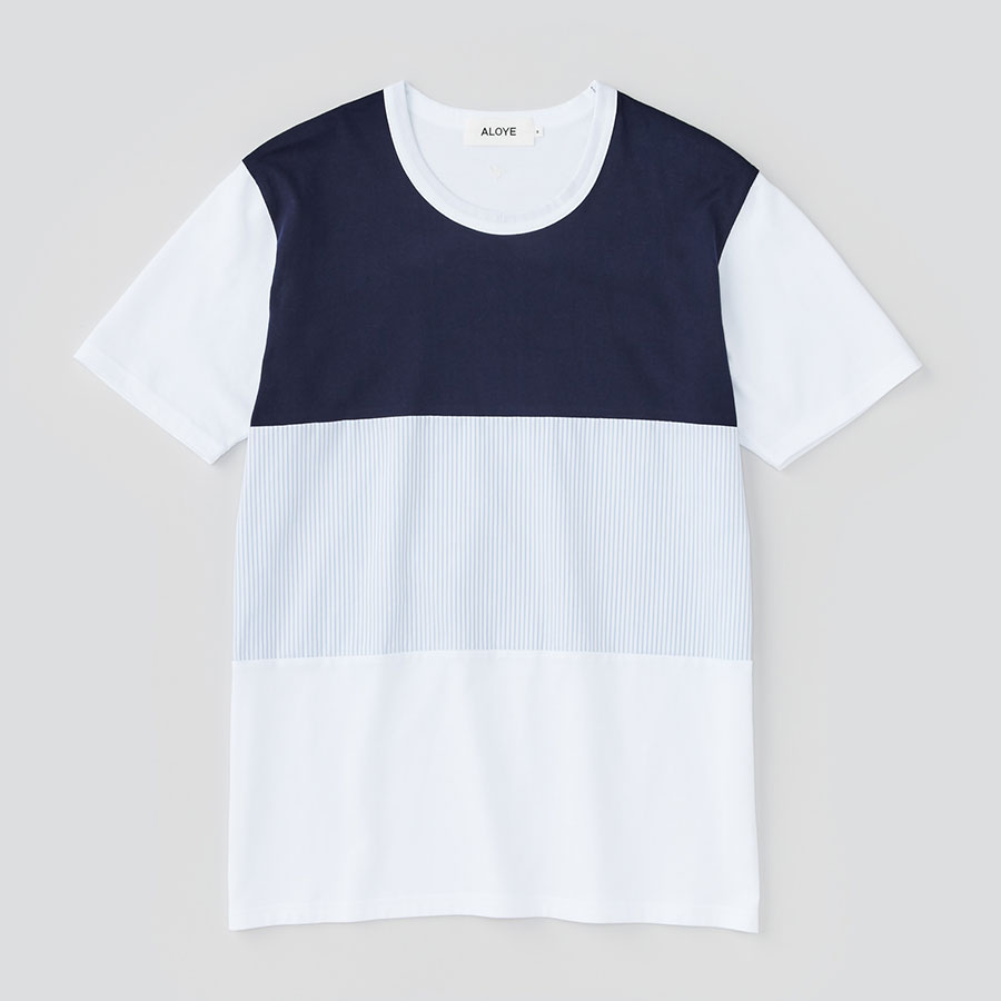 ALOYE アロイ 2017ss シャツ 切り返し グラフィック Tシャツ ネイビーとストライプ切り返し商品