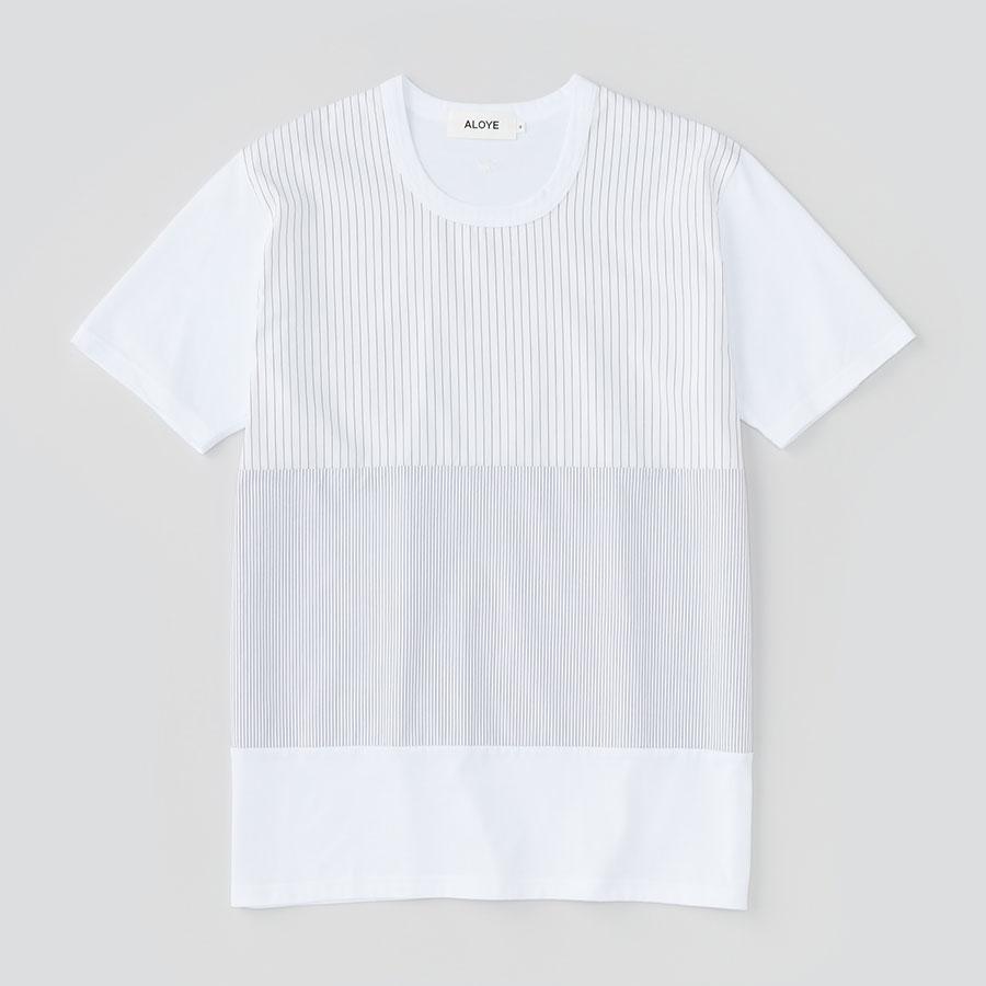 ALOYE アロイ 2017ss シャツ 切り返し グラフィック Tシャツ ストライプ全体