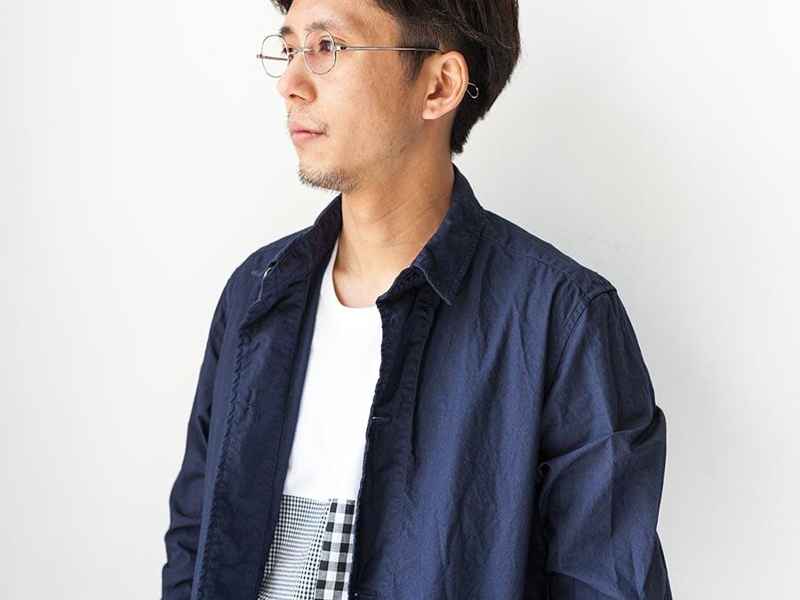 マニュアルアルファベット manual alphabet シャツコート 2017 shirt coat ネイビー 襟元