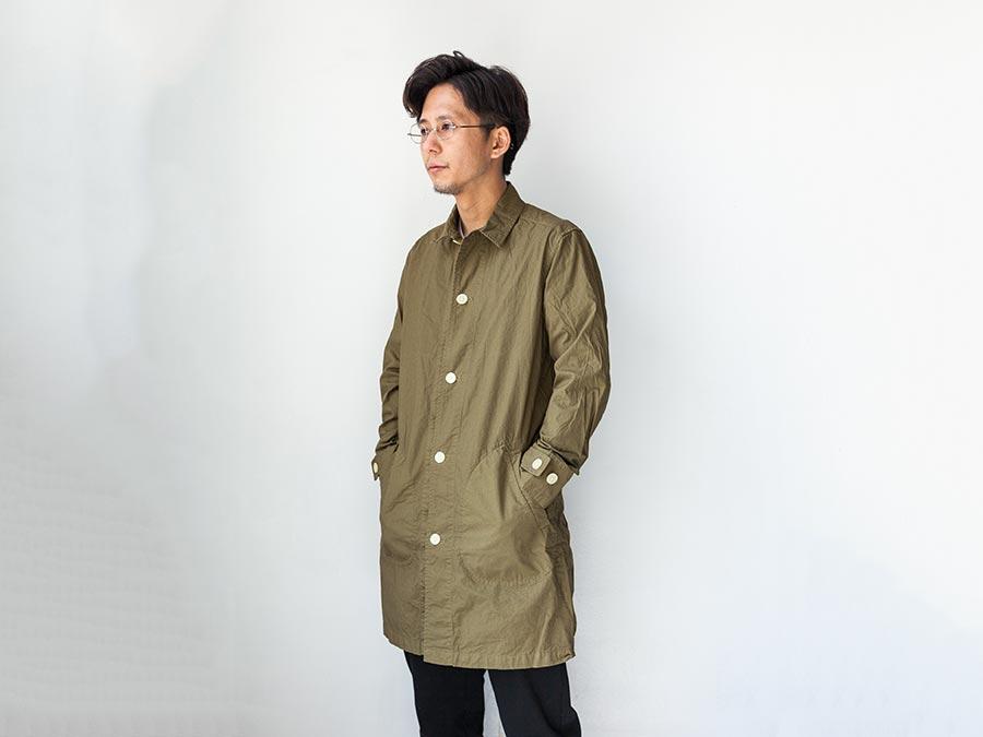 マニュアルアルファベット manual alphabet シャツコート 2017 shirt coat オリーブ 前ボタン締め