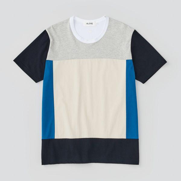 ALOYE アロイ 2017ss ブロック 切り返し グラフィック Tシャツ ブロックの商品写真