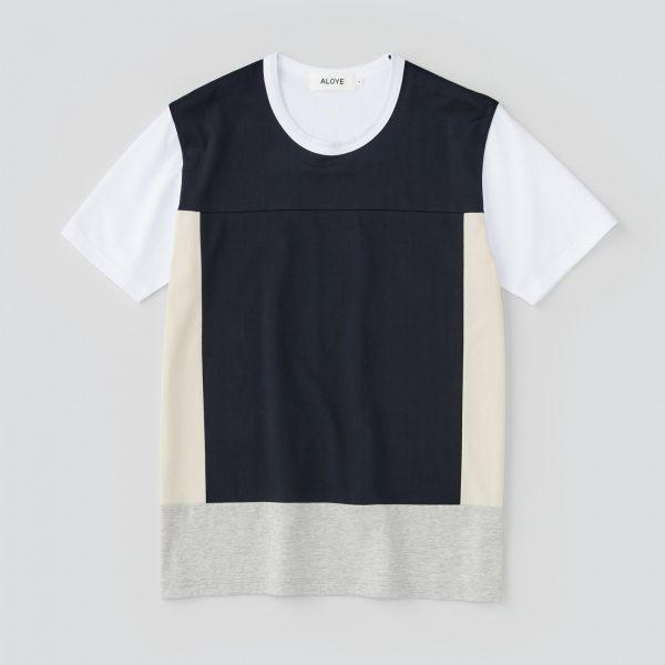 ALOYE アロイ 2017ss ブロック 切り返し グラフィック Tシャツ ブロック全体商品写真