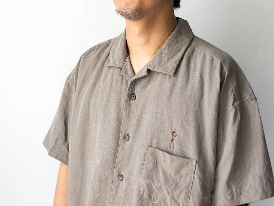 manual alphabet マニュアルアルファベット ビーチガール 半袖シャツ アロハシャツ 胸元
