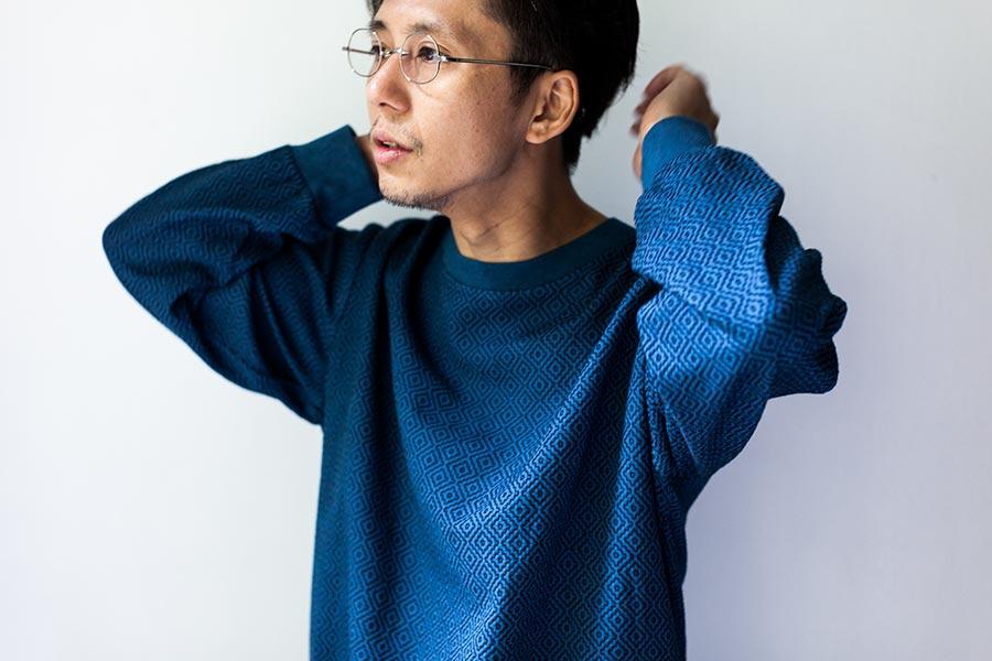 藍染 刺し子についてとKUON2017 プルオーバーシャツ 着衣イメージ