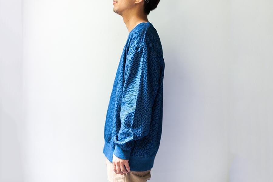 藍染 刺し子についてとKUON2017 プルオーバーシャツ 藍染の着衣イメージ