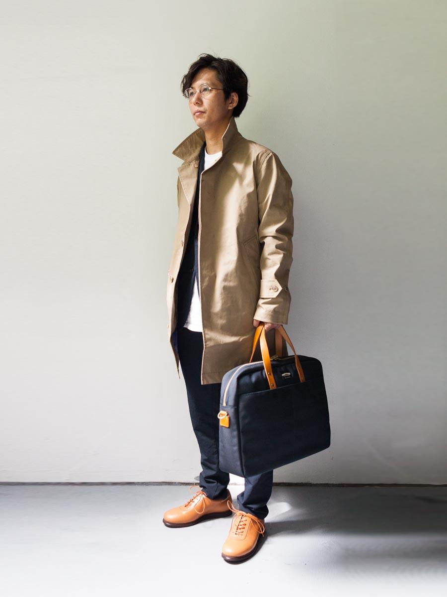 nanamica ナナミカ cotton gore-tex soutien collar coat ベージュの全身 2017