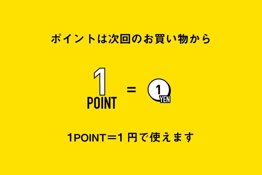 ポイントは次回のお買い物から1ポイント1円で使用できます