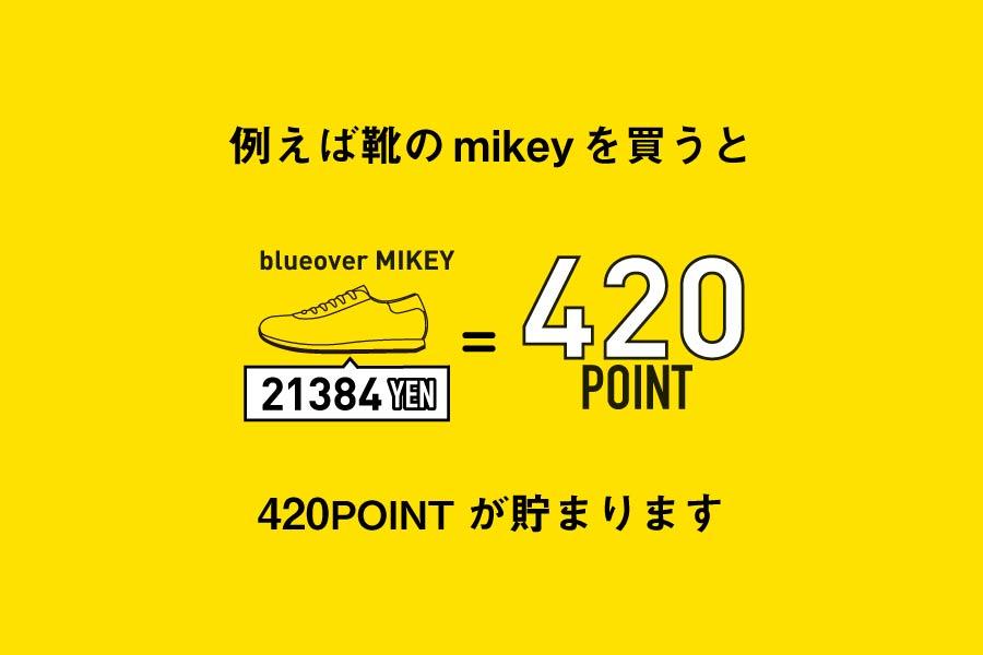 例えば21,384円の靴(blueoverのmikey)を買うと、420ポイントが貯まります。
