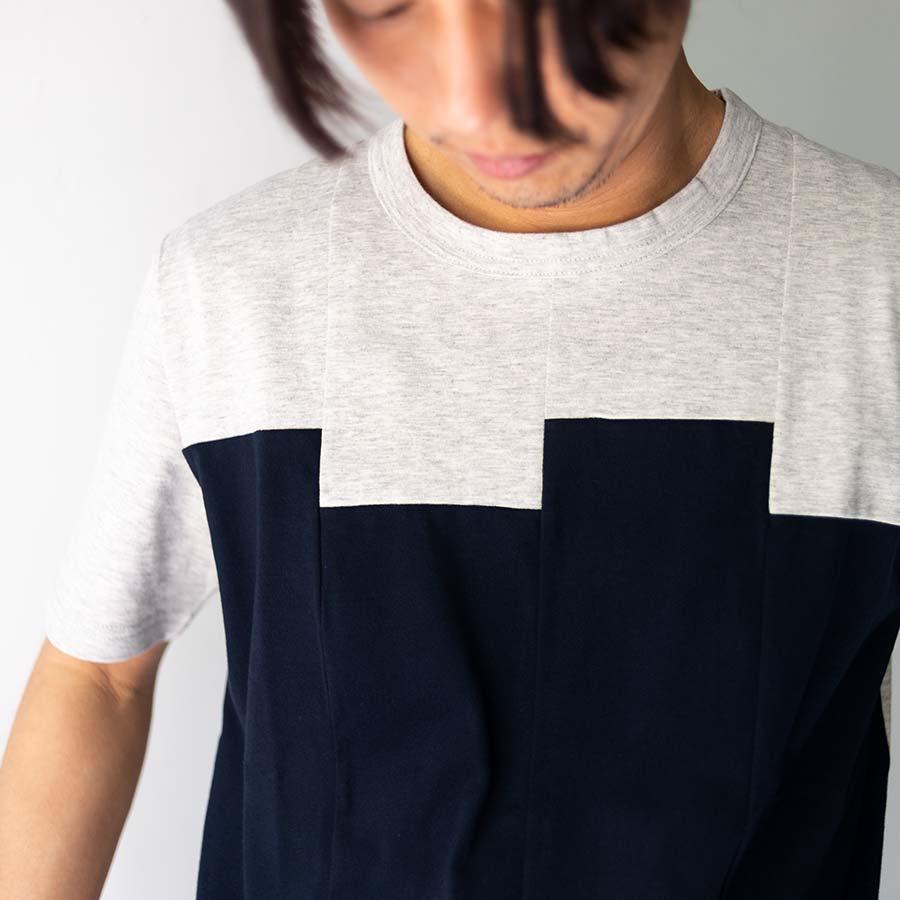 ブロックカラー チグハグに縫われたブロック グレーネイビー 着衣