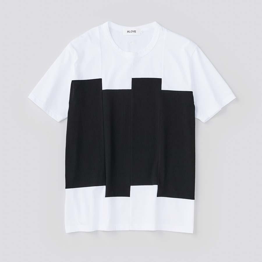 ブロックカラー チグハグに縫われたブロック ブラックホワイト