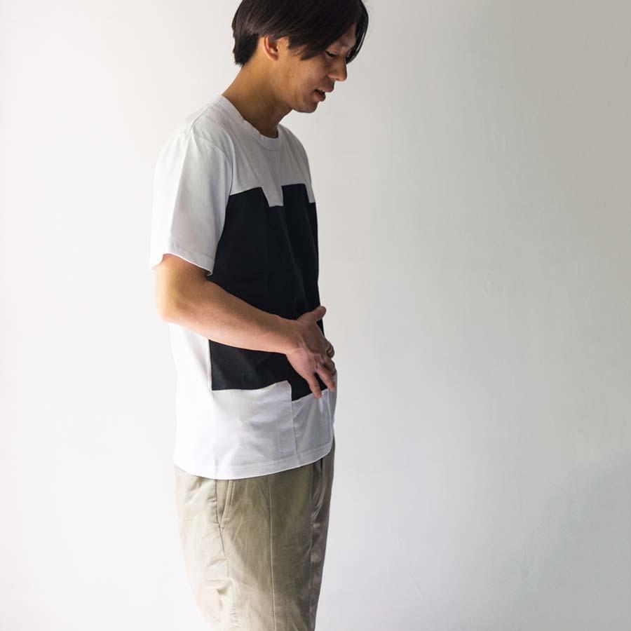 ブロックカラー チグハグに縫われたブロック ブラックホワイト 着衣